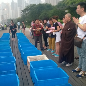 Eel ceremony by the Huangpu River