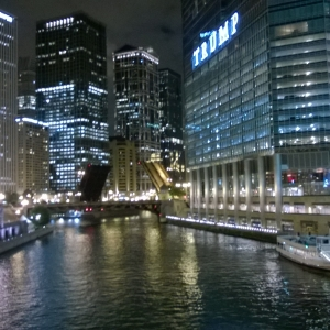 Even at night, the Chicago River looks cleaner than the Haungpu River!