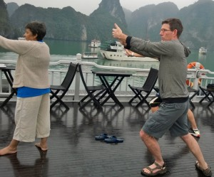 Thom's first attempt at Tai Chi when we were in Halong Bay.