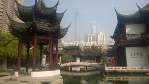 Pond, waterfall, and a view of downtown Pudong-all on property!
