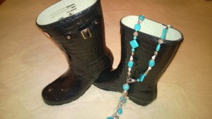 Hunter rain boots and turquoise necklace-my bargains from AP market