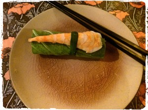 Mustard leaves roll with prawn