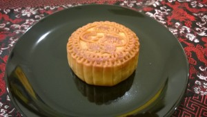 Mooncake stamped with rabbit imprint to signify the moon