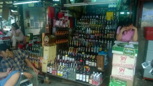 Liquor stall at the market