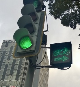 Scooters rule-they even have their own traffic signal and lanes
