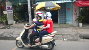 Vietnam's version of the mini van--scooter for 4!