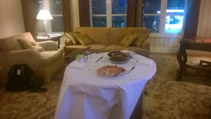Enjoying room service in our fabulous suite