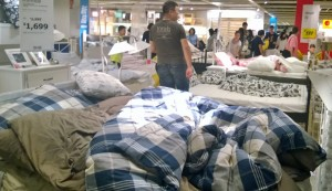 Every bed slept in by noon at Ikea