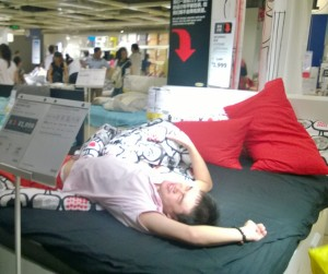 Taking a nap at Ikea is very popular and comfy