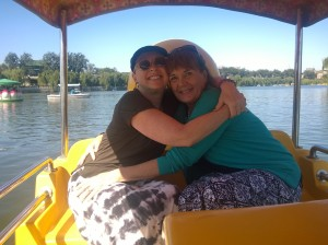 Patti & I hanging on for dear life in the boat in Beijing