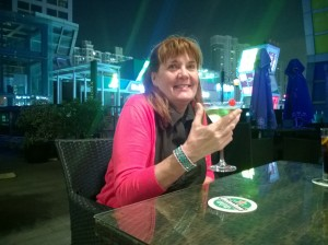 Patti enjoying the second martini of her life at Blue Marlin