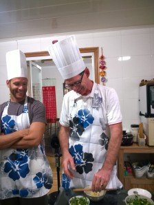Thom rocking the hat and apron at cooking class