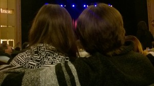 My view obstructed by gorgeous haired Seattleites hugging it out at the Paramount