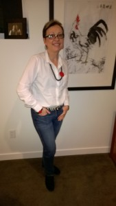 Classic white shirt with animal print belt for a casual Friday outfit and spiced up with China necklace