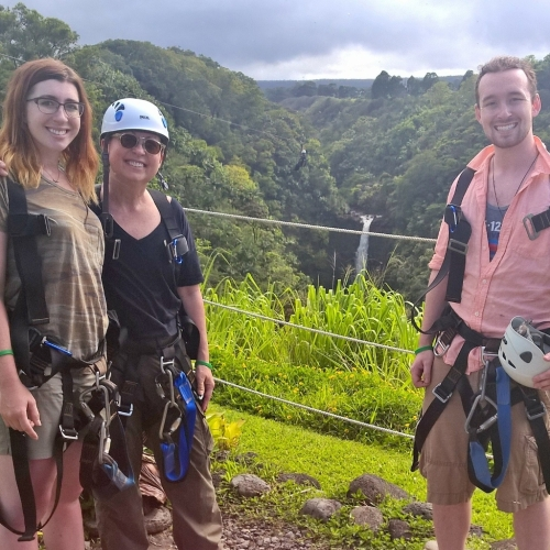 Hannah, James and I after ziplining by this gorgeous waterfall