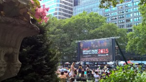 Bryant Park does outdoor movies in the summer