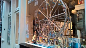 Toothbrush boutique with a ferris wheel in the window to showcase the goods.