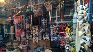Boutiques specialize-bow ties, of course, with a house cat guarding at the shop.