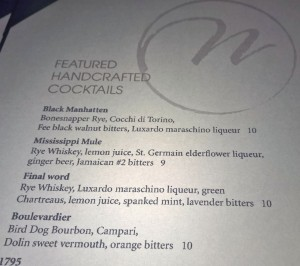 Handcrafted cocktails at Café Navarro feature a complex array of ingredients