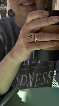 M Scrabble Tile Ring from the Boise Farmer's Market