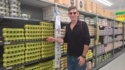 Wall of eggs at grocery