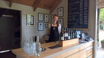 Victoria serves a fine wine at Goldie Estate